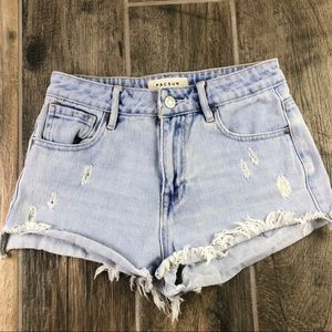 Pacsun High Rise Shortie Shorts SIZE 24 Light Wash